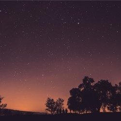 A galactic night sky with a dim red horizon and trees